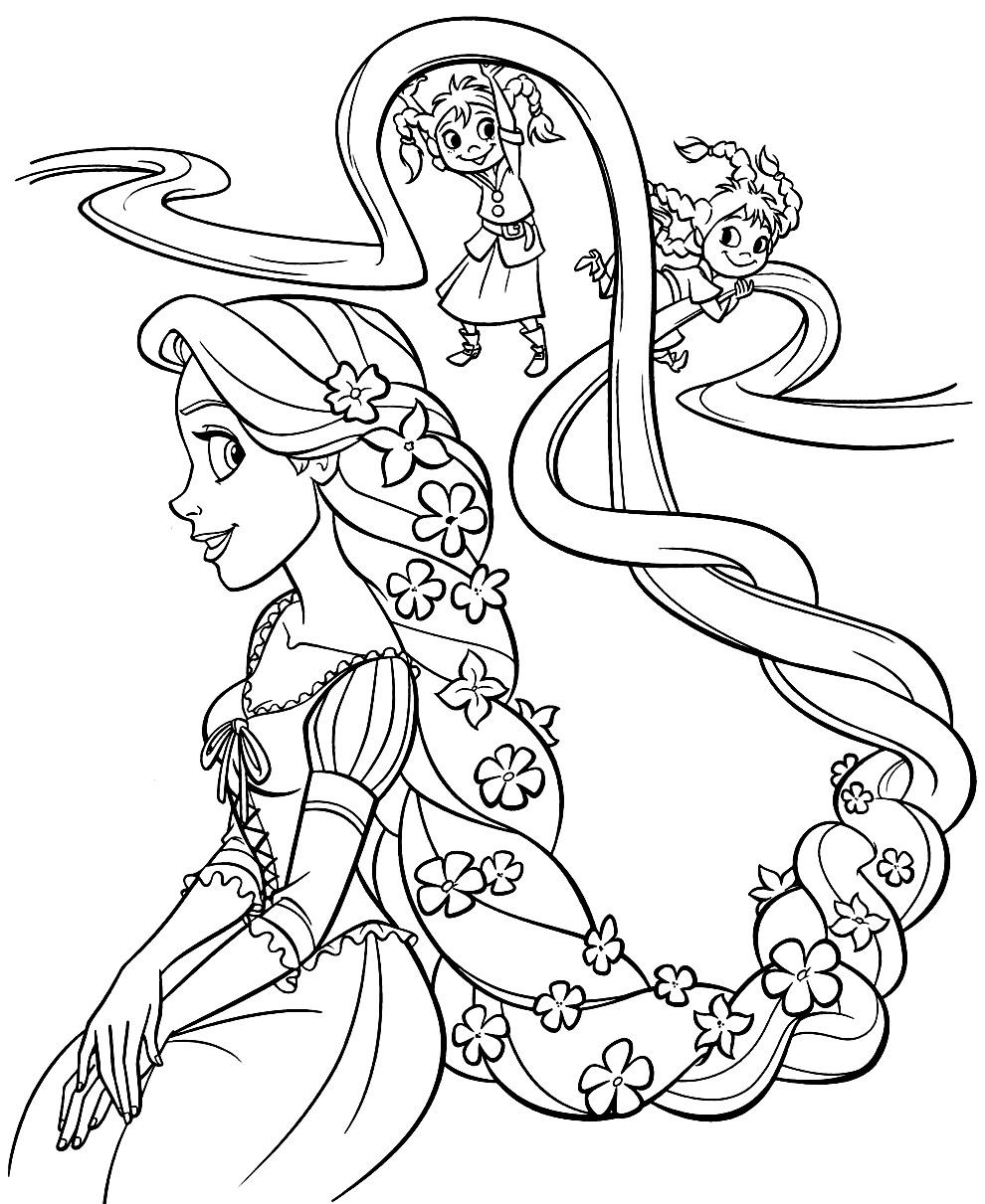 Imagem da Rapunzel para colorir