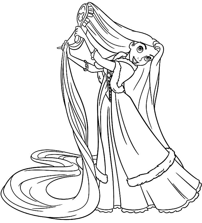 Desenho da Rapunzel para pintar