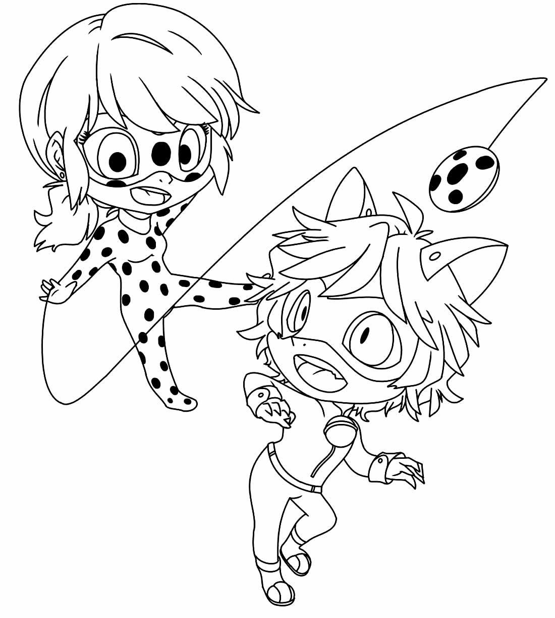 Desenho da Ladybug e do Cat Noir