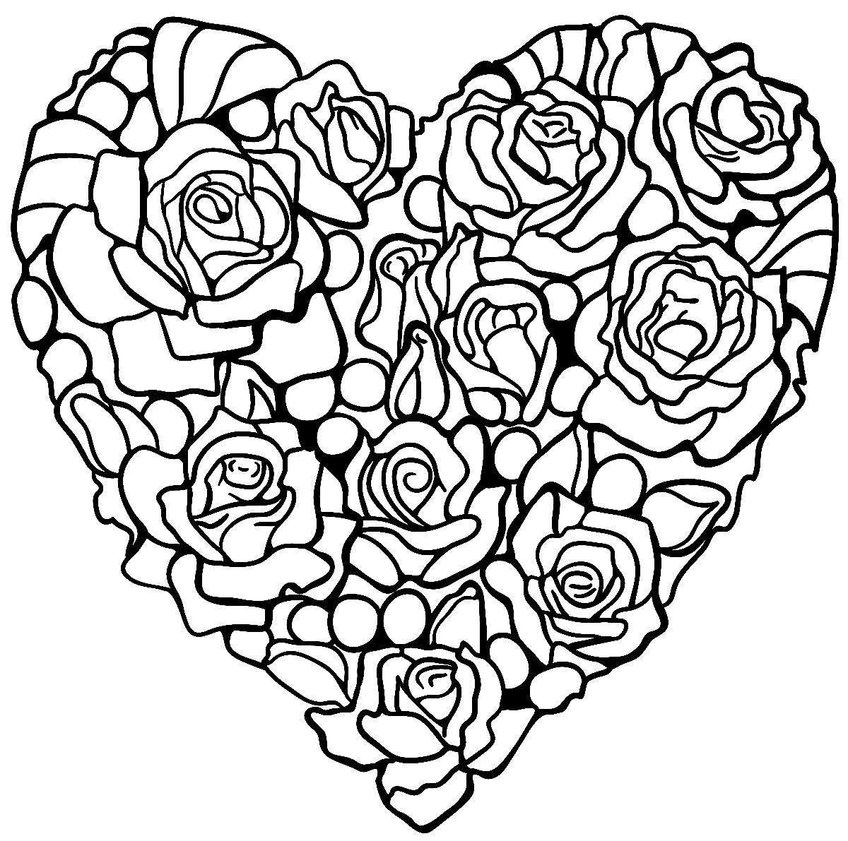 Coração de rosas para colorir