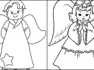 Desenhos de anjinhos e anjinhas para colorir