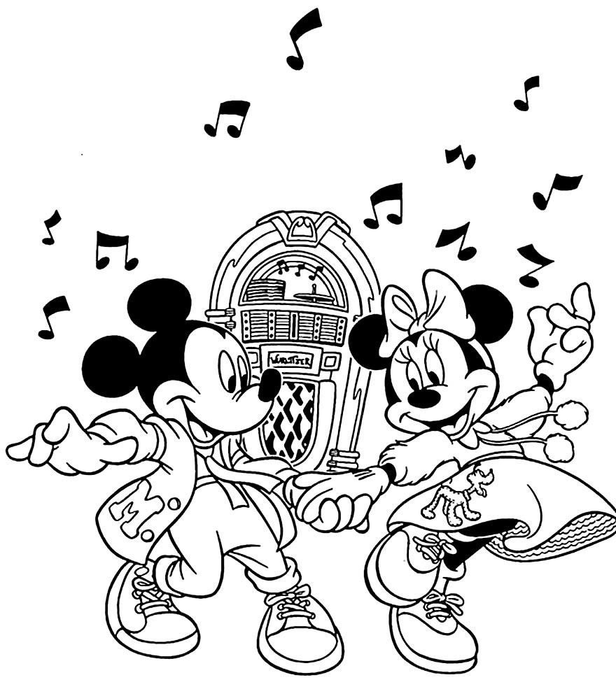 Imagem para pintar do Mickey e da Minnie