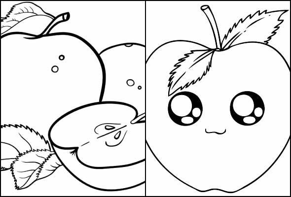 Desenhos de Maçã para imprimir e colorir