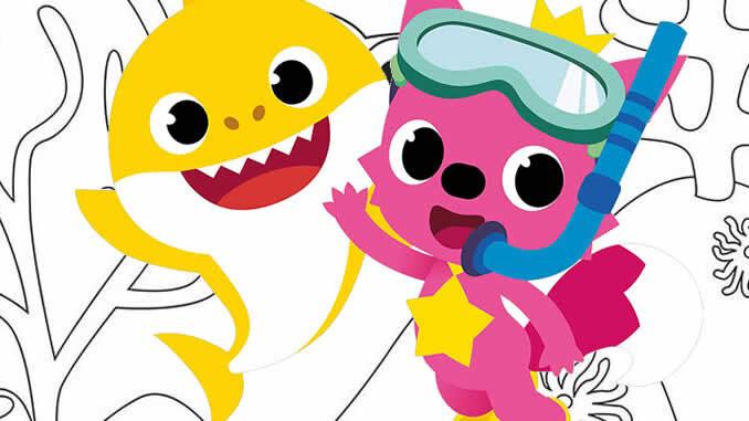 Desenhos para pintar de Baby Shark