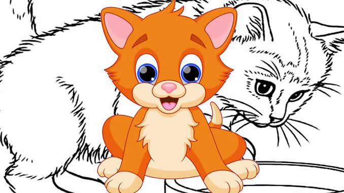 Desenhos de Gatinhos para pintar e colorir