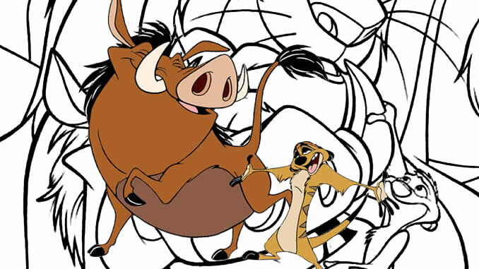 Desenhos para colorir de Timão e Pumba