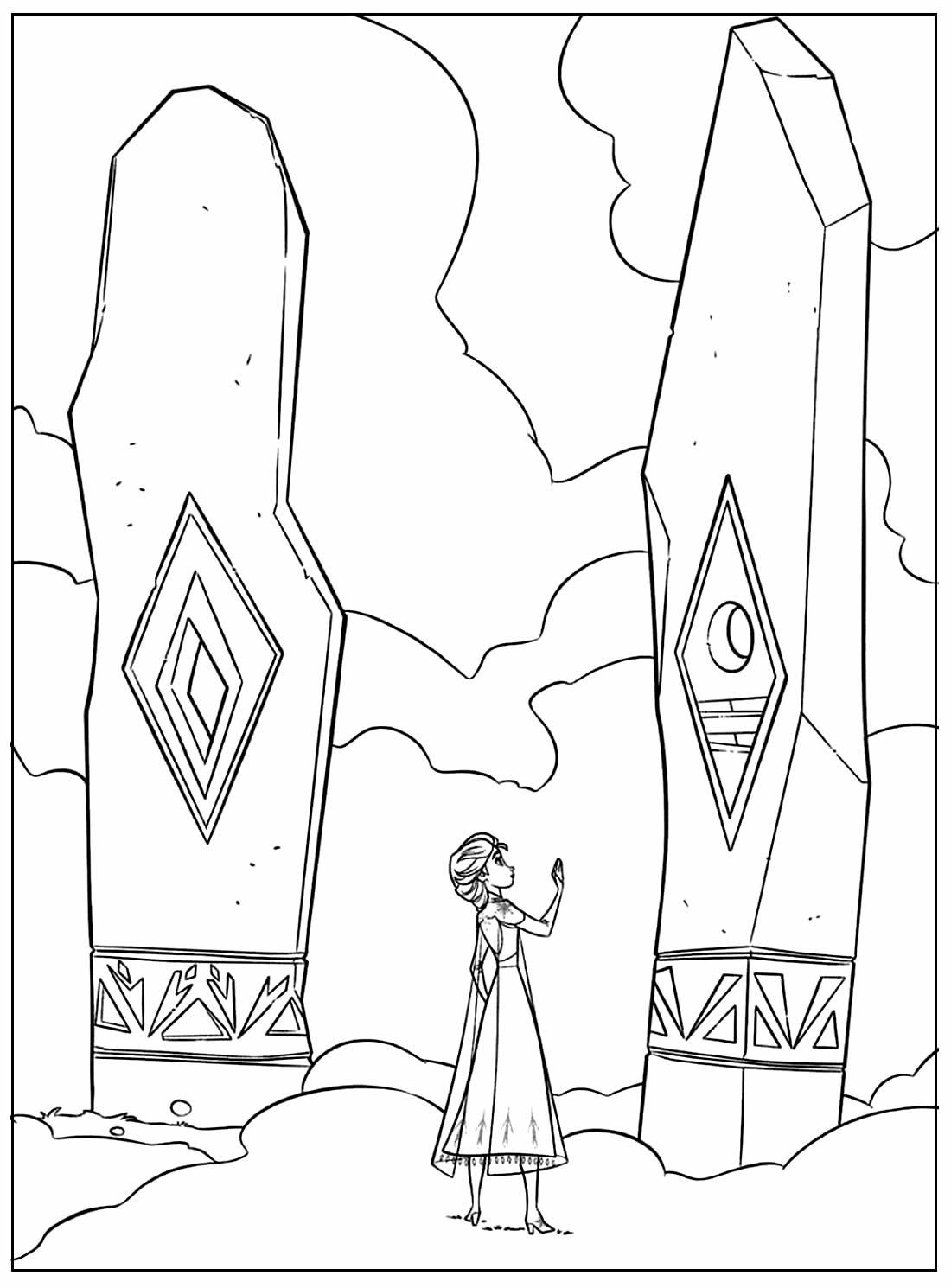 Desenho para pintar e colorir da Princesa Elsa