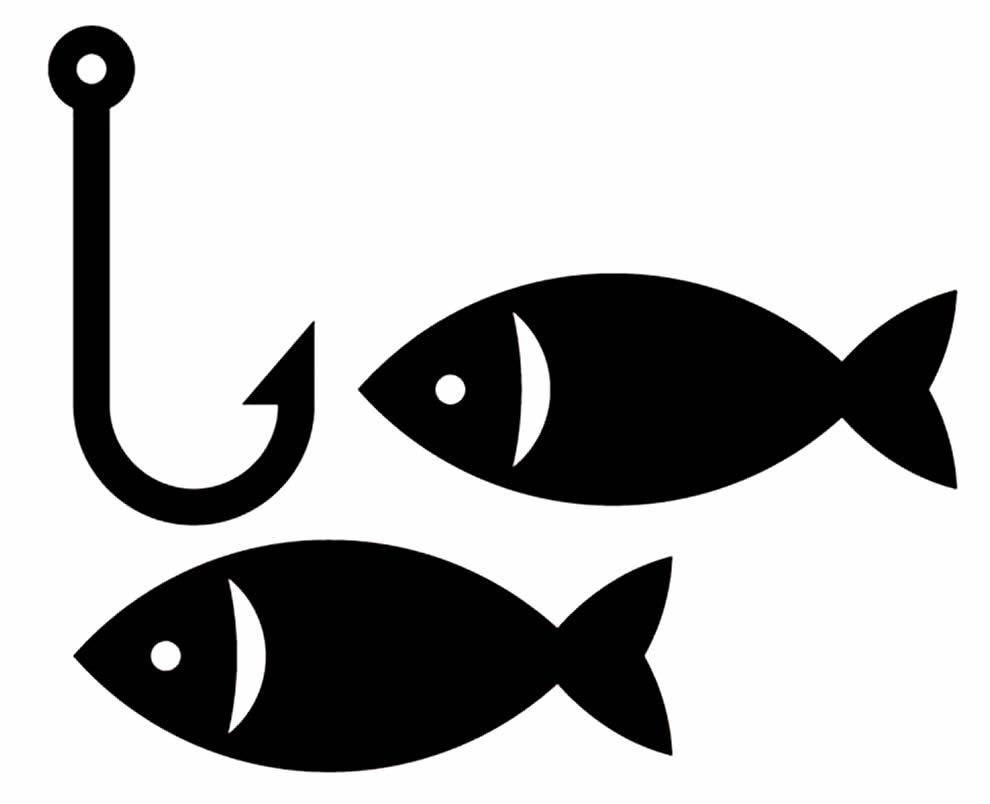 Molde para imprimir de peixes e anzol