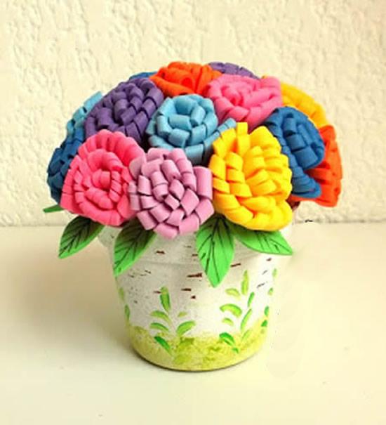 Flores feitas em EVA