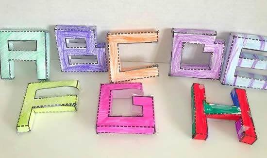Moldes lindos de letras de papel