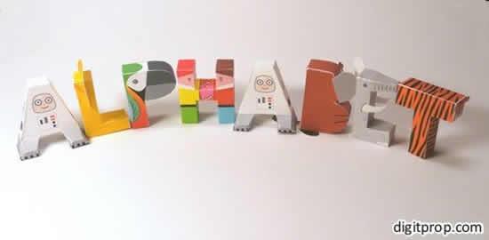 Letras de papel em 3D