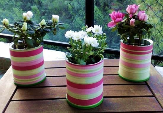 Arranjos com latas para o Dia das Mães