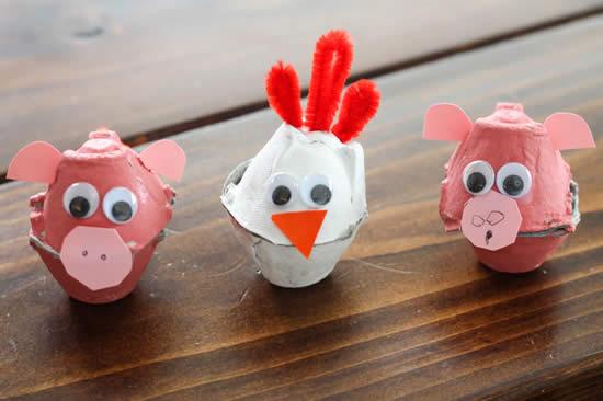 Bichinhos com reciclagem de caixas de ovos